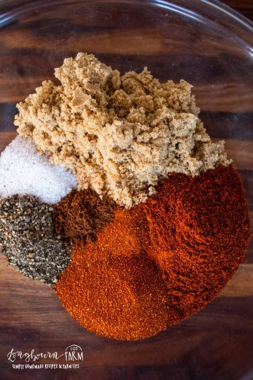 ingredients for bbq rub in a glass bowl