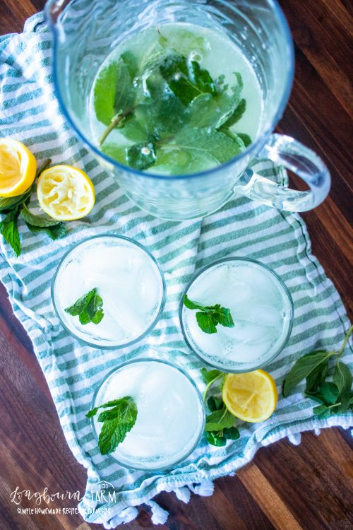 a pitcher and glasses full of mint lemonade with garnish and squeezed lemon halves to the sides