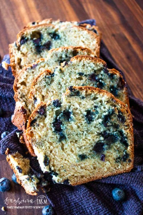 several slices of blueberry banana bread on a towel