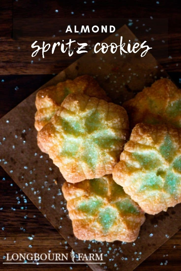 Almond spritz cookies are a tasty buttery cookie that practically melts in your mouth. Especially popular around the holidays like Christmas, these cookies are always a welcomed sweet.